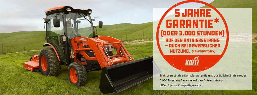 Kioti - 5 Jahre Garantie (oder 3.000 Stunden) auf den Antriebsstrang von Traktoren,  auch bei gewerblicher Nutzung